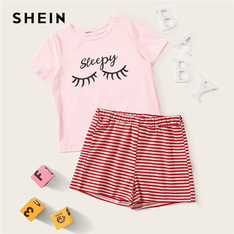 SHEIN Ruffle Letter Print Tee And Striped Shorts Set Girls Sleepwear Kids Pajamas 2019 Short Sleeve Casual Pajamas For Girls доска для ограждения garden dreams 1 1 м