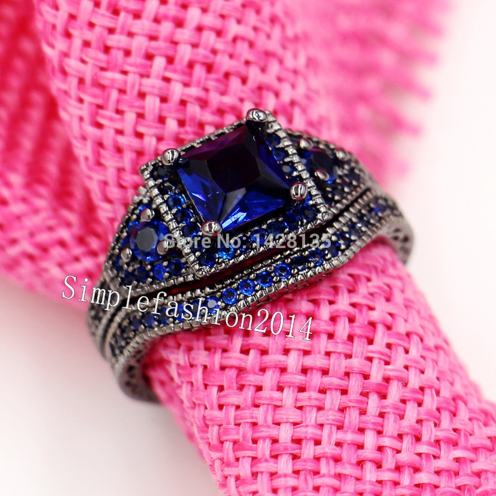 New Jewelry Vintage Jewelry Engagement 10KT Black Gold Filled Blue ...
