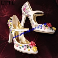 2017 Spring New Runway Fashion Week Flower Rhinestone Spikes Buckle Strap Thick High Heels Women Pumps Mary Jane Shoes