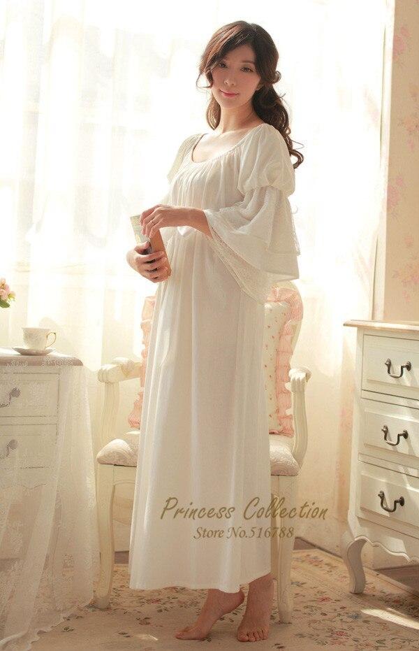 8864219acf Online Shop Free Shipping 100% Cotton Nightgown Princess Nightdress Royal  pijama Ladies Sleepwear Long White Women nightwear roupao feminino
