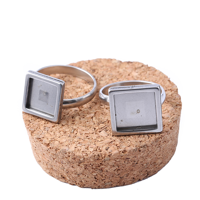 Reidgaller 5pcs Stainless Steel Ring Blanks 10mm 12mm Square Cabochon Base Setting Diy Jewelry Bezels For Rings Making