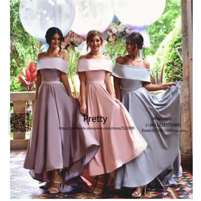 a2a4160574 Hi Lo Gown 2017 Off Shoulder Bridesmaid Dresses Long Wedding Guest Dress  Maid of Honor Wedding Party Gown Bridesmaid Dress