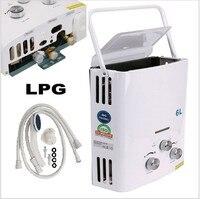 KOOBUY 6L LPG ガス給湯器ホット販売時間限定ためサーモスタットタンクレスインスタントバスボイラーシャワーヘッド