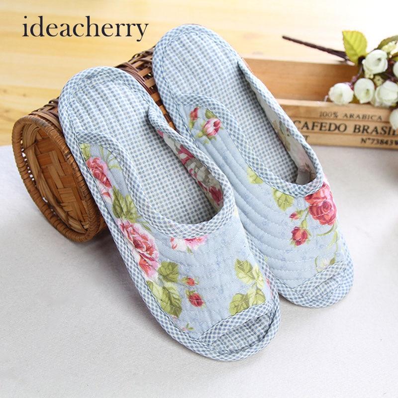 Ideacherry Cute Floral Winter Women Home Slippers For