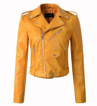 New Arrival brand Winter Autumn Motorcycle leather jackets yellow leather jacket women leather coat  slim PU jacket Leather 10
