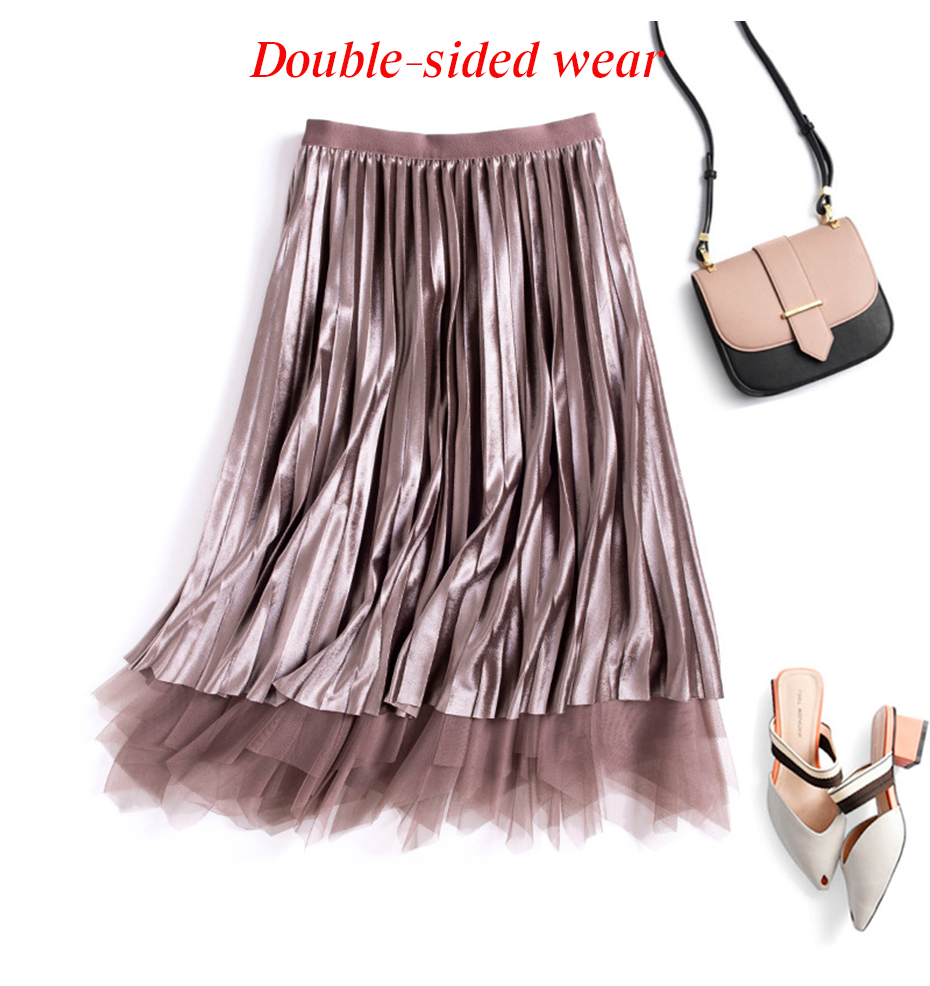 Reversible Velvet Tulle High Waist Pleated Skirt