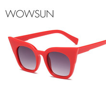 69d5bf5ca3c WOWSUN New Cat Eye Sunglasses Children Brand Designer Red Pink Acetate  Frame Eyewear Gradient Lens Sun Glasses UV400 A807