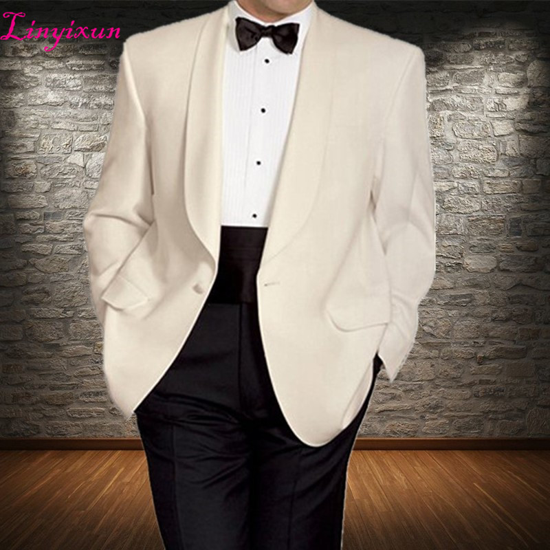 7b007a230b42 Linyixun 2018 Classic Style Men Suits Shawl Lapel Two Piece Wedding Groom  Tuxedos One Button Ivory. US $73.26. Linyixun Hot Selling Navy Blue ...