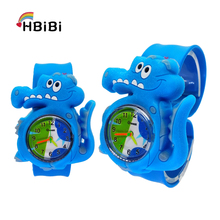 цены New Cartoon crocodile Watches Kids Fashion Boys Students Sports Clock Silicone Children Watch Girls Analog quartz Wristwatches