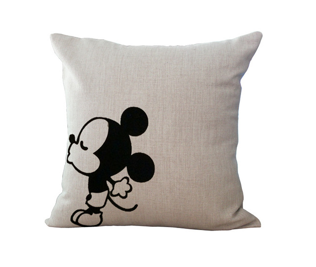 Cotton Linen Cartoon Couple Lover Mr & Mrs Mouse Throw Pillow Cushion Case Cover Home Pillowslip Gift
