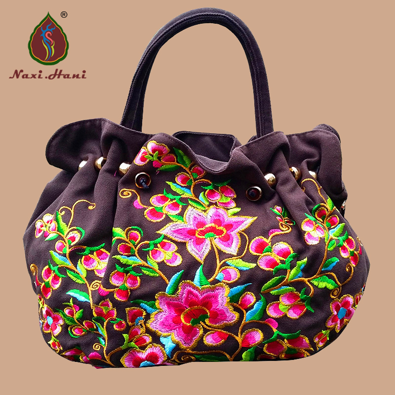 New Brand Folk style embroidery women handbag Vintage fashion brown canvas Flower pattern shoulder bags