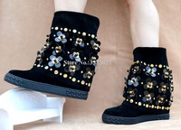Suede Flowers Decor Woman Mid calf Boots Fashion Rivets Flat Platform Heel Increasing Wedge Boots Metal Chains Ladies Short Boot