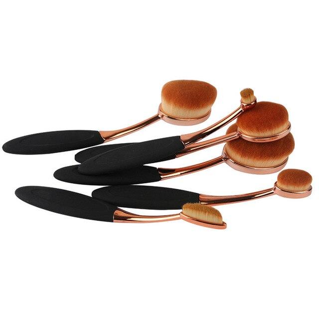6 unids cepillo de Dientes Forma Ovalada Cepillo De Maquillaje Polvos Base maquillaje Ceja Componen Cepillos Herramientas de Belleza