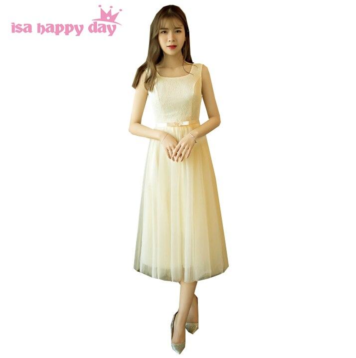 sweet 2020 hot sale cheap champagne tulle short modern elegant sweet 16 homecoming tea length semi formal dresses H4031