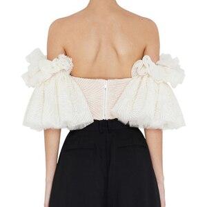 Image 4 - TWOTWINSTYLE סטרפלס חולצה לנשים מכתף רקמת ראפלס אבוקה שרוול סקסי קצר חולצות קיץ אופנה 2019 בגדים