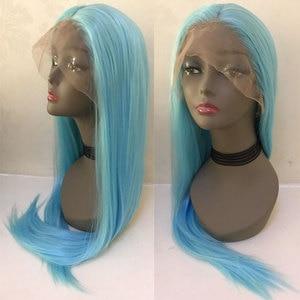 Image 2 - Bombshell שמיים כחול ישר סינטטי שיער תחרה מול פאת Glueless טבעי קו שיער עמיד בחום סיבי שיער לנשים פאות