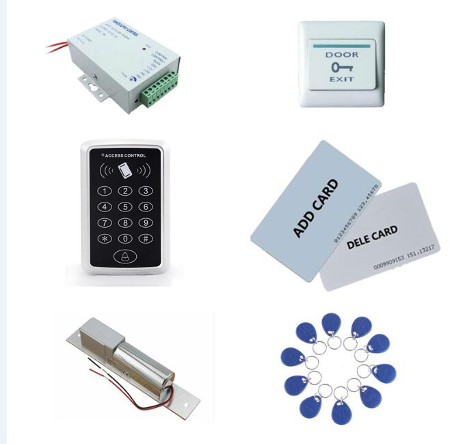 Access control kit,em/ ID keypad access control+ power+bolt lock+exit button+2pcs manage card, 10 keyfob ID tags,sn:set-2