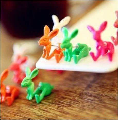 Shopping festival Fashion Fluorescence rabbit lady stud earrings 4 colors Personality animal jewelry  Free shipping ! EH2009