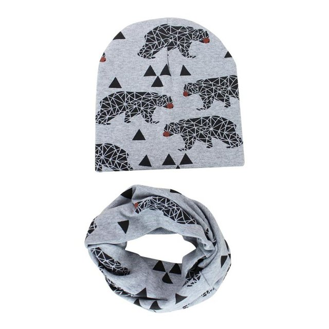 Toddlers Children Caps Scarves Set Winter Autumn Baby Hat Infant knitted Girl Boy Cap Cotton Scarf