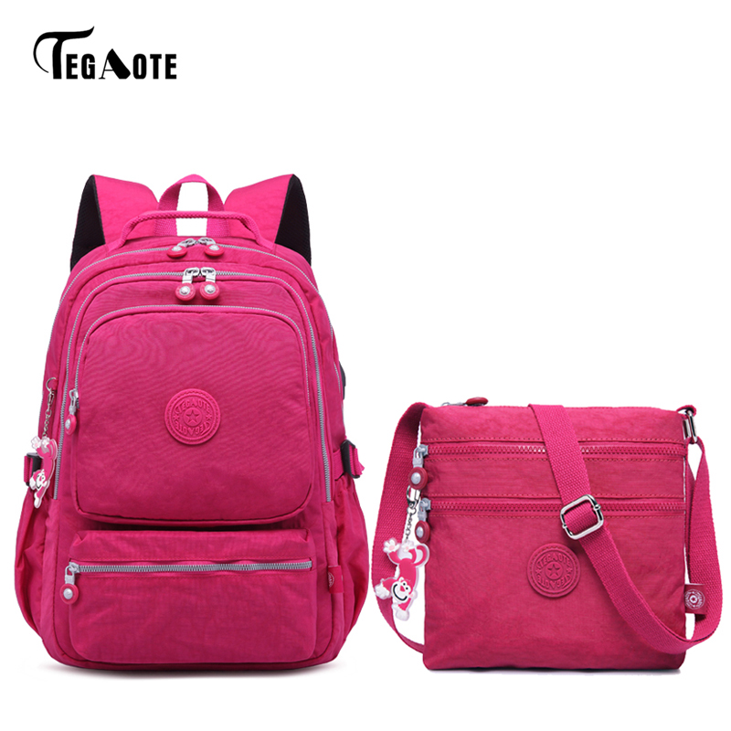 TEGAOTE Casual Original Women School Backpack for Teenage Girls Nylon USB Charging Laptop Backpacks Satchel Bag SetTEGAOTE Casual Original Women School Backpack for Teenage Girls Nylon USB Charging Laptop Backpacks Satchel Bag Set
