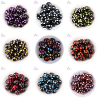 Choose Color Fashion Jewelry 20MM Black And Mix Color Resin Polka Dot Beads Chunky Resin Beads For Necklaces Jewelry Wholesale