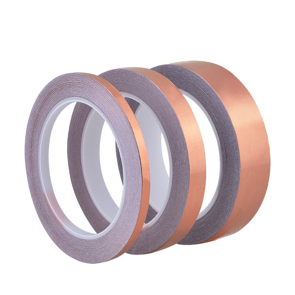 50 Meters Single Side Conductive Copper Foil Tape Strip Adhesive EMI Shielding Heat Resist Tape 3mm 6mm 8mm 12mm #