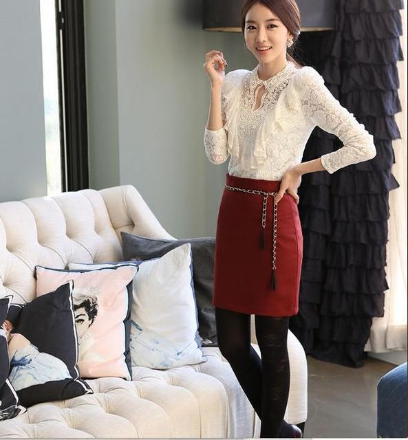 43b8ce87105 Free Shipping 2013 spring clothes women lace korean shirt women white  blouse business casual clothes for women