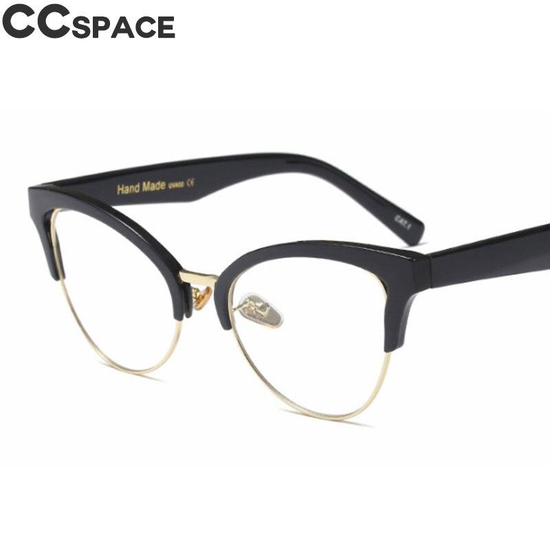 45640 Half Frame Cat Eye Hollow Glasses Frames Women Trending Optical Fashion Computer Glasses