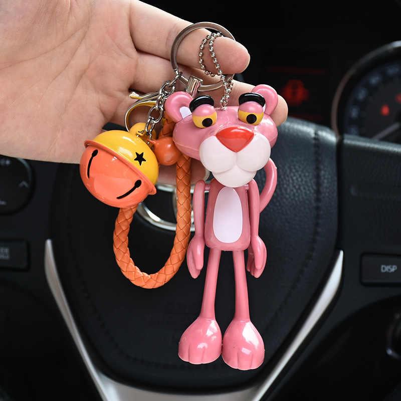 קריקטורה חמוד בעלי החיים אנימה ורוד פנתר Keychain ארנב פרווה כדור פום פום מפתח טבעות פעמוני מפתח שרשרות נשים רכב תיק קסמי Pendan