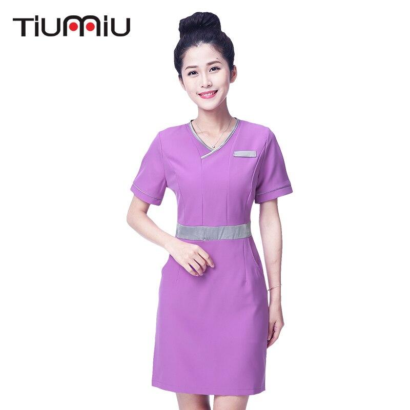 2018 Beauty Salon Lab Dress Hospital Doctor Nurse Uniform Women Short Sleeve Medical Uniform Attire SPA Fashion Workwear Uniform