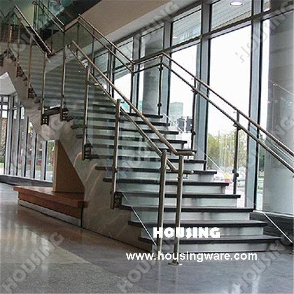 Indoor Stair Glass Balustrade With Stainless Steel Handrail And Baluster