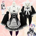 New Re:Zero kara Hajimeru Isekai Seikatsu Ram Rem Twins Maid Dress Cosplay Costume Halloween Chrismas Cosplay Lolita Dress