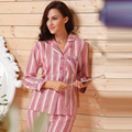Woman Fall Cotton Pajamas Sets Brushed Cotton Striped Pajamas for Women Spring Autumn Sleepwear Ladies Pyjama Set