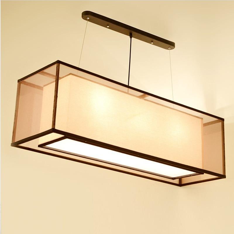 Chinese style Iron double rectangular transparent sheepskin Pendant Lights custom Double Square Restauran pendant lamps ZS157