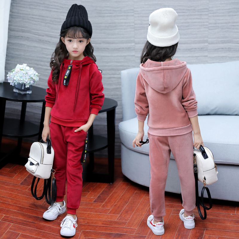 winter velvet warm kids clothes baby girls clothing set children clothes sets toddler girl clothes fashion korean 2018 new 2pcs Children Clothing Set Toddler Girl Clothes 2018 New Fashion Kids Winter Thicken Warm Hooded Outwear + Pant 2pcs Sports Suit 8 10