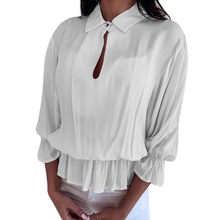 Chemisier Femme Women's Blouse Women's Solid 3/4 Sleeve Ruffled Elastic Band Button-Open Collar Top Blouse Bluzki Damskie(China)