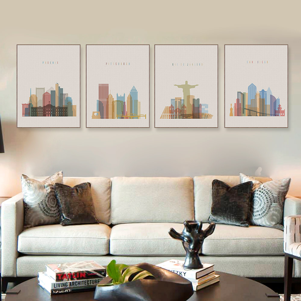 Nordic Abstract City Paris New York Canvas Art Print Poster Wall Picture Paintings Vintage Retro Living Room Home Decor No Frame