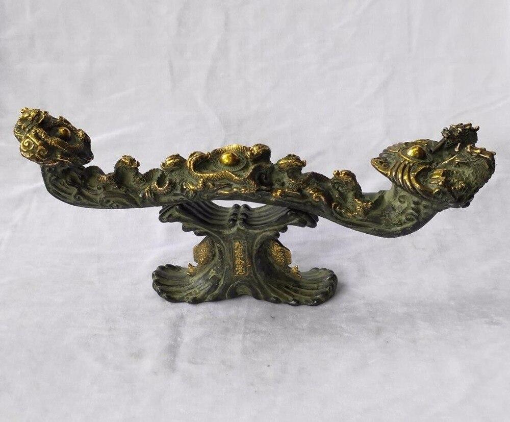 Long 39 CM!!! Collection chinoise ancienne main bronze 9 dragon Ruyi sculpture métal artisanat décoration de la maison grand dragon statue