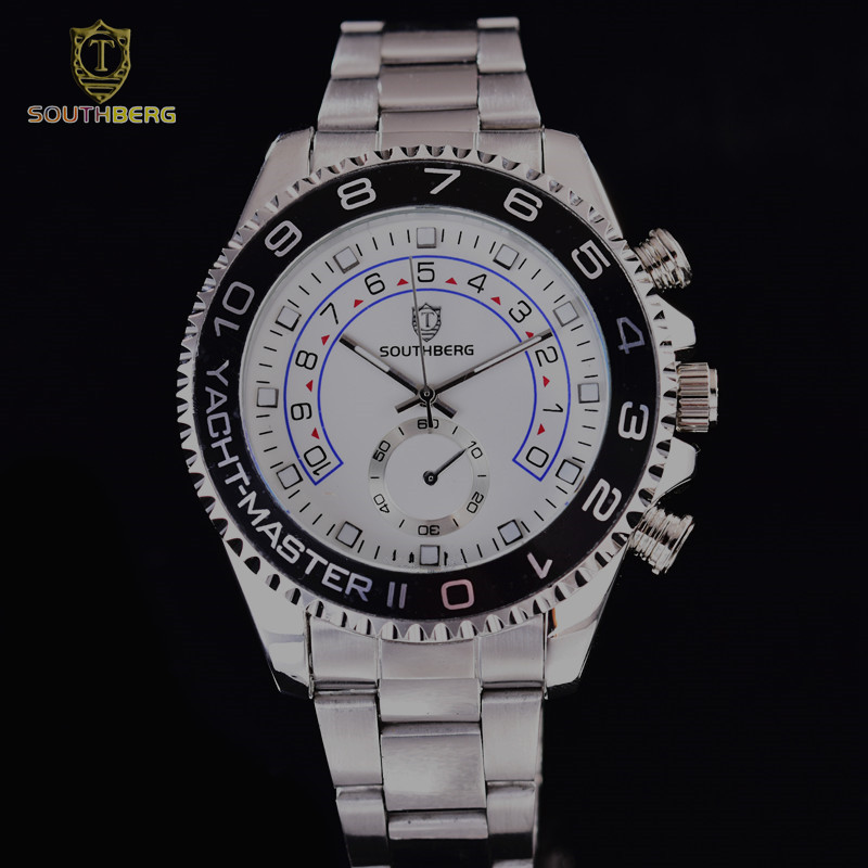 2017 SOUTHBERG Gold Watch Men  Rotatable Bezel Sapphire Glass Stainless steel Band Sport Quartz WristWatch reloj relogio 44MM