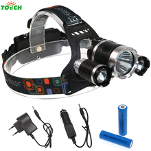 Waterproof Headlamp CREE XML T6 5000 Lumens LED Headlight 18650 Rechargeable Hunting Camping Spotlight,battery+charger(pack)