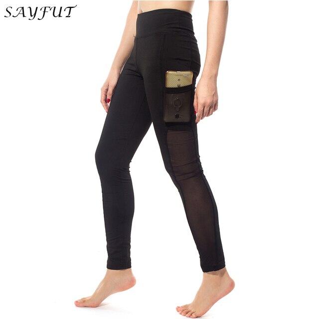 SAYFUT Mesh leggins Slim High Waist Leggings Woman Elasticity Trouser Pants for