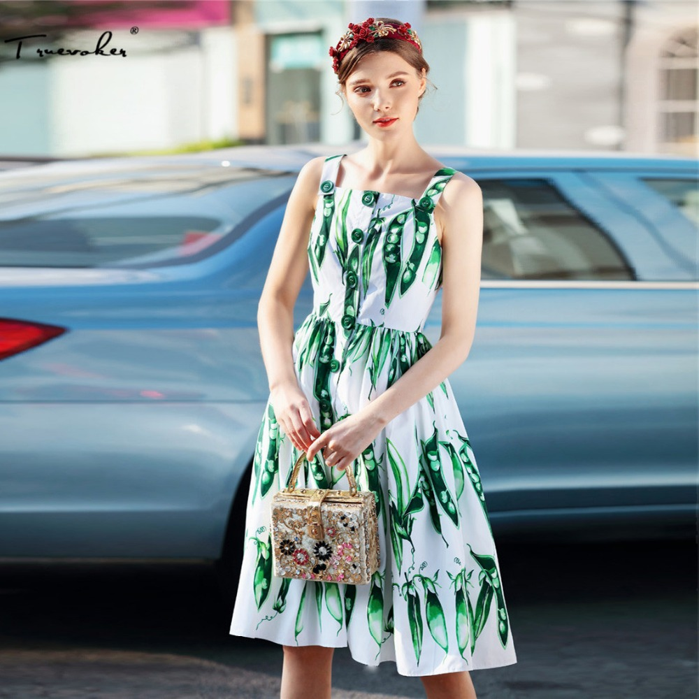 Truevoker Summer Designer Dress Womens High Quality Noble Green Bean Printed Knee Length Strap Vestido