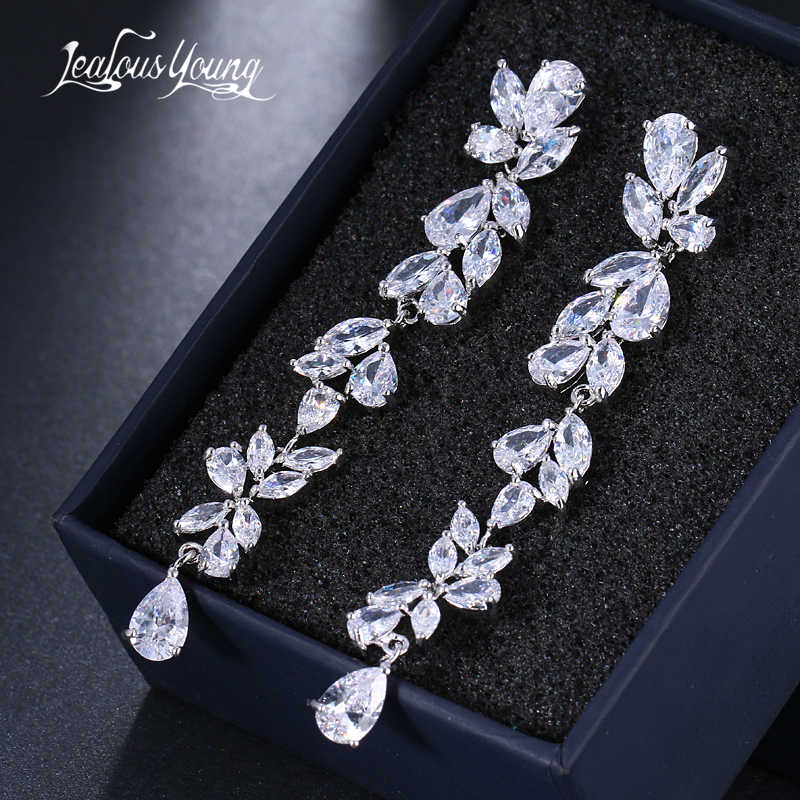 2018 Luxury New Long Fringe Earrings Leaf Shape Water Drop AAA+ Zirconia Earings For Women Fashion Bride Earrings Brincos AE570
