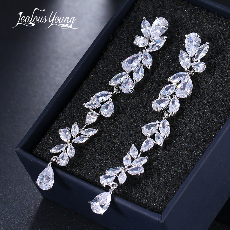 все цены на 2018 Luxury New Long Fringe Earrings Leaf Shape Water Drop AAA+ Zirconia Earings For Women Fashion Bride Earrings Brincos AE570