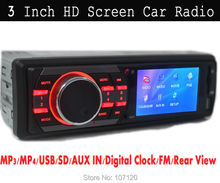 3 inch TFT Screen,12V Car radio MP3 MP4 player, Car stereo 1 Din In Dash,AUX in,FM radio support USB port/SD,Remote Control