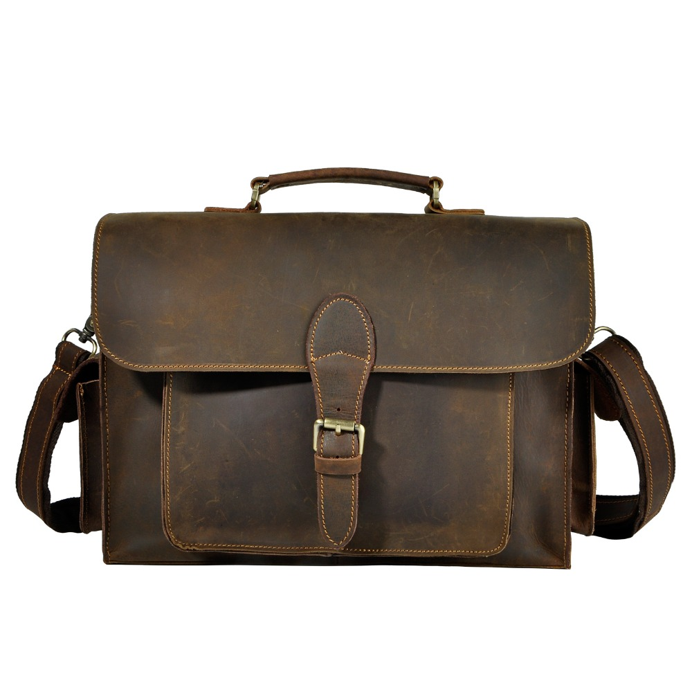 Mens Quality Leather Business Portfolio Best Professional Executive Lawyer Briefcase Computer Laptop Case Messenger Bag 2058