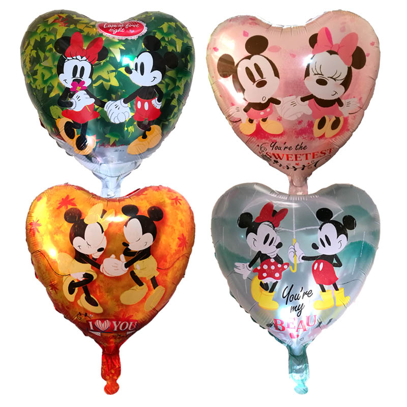 10Pcs new Heart Mickey Minnie love forever Helium Balloons Wedding/Birthday Party Decoration Inflatable Air Balloons Kids Toys