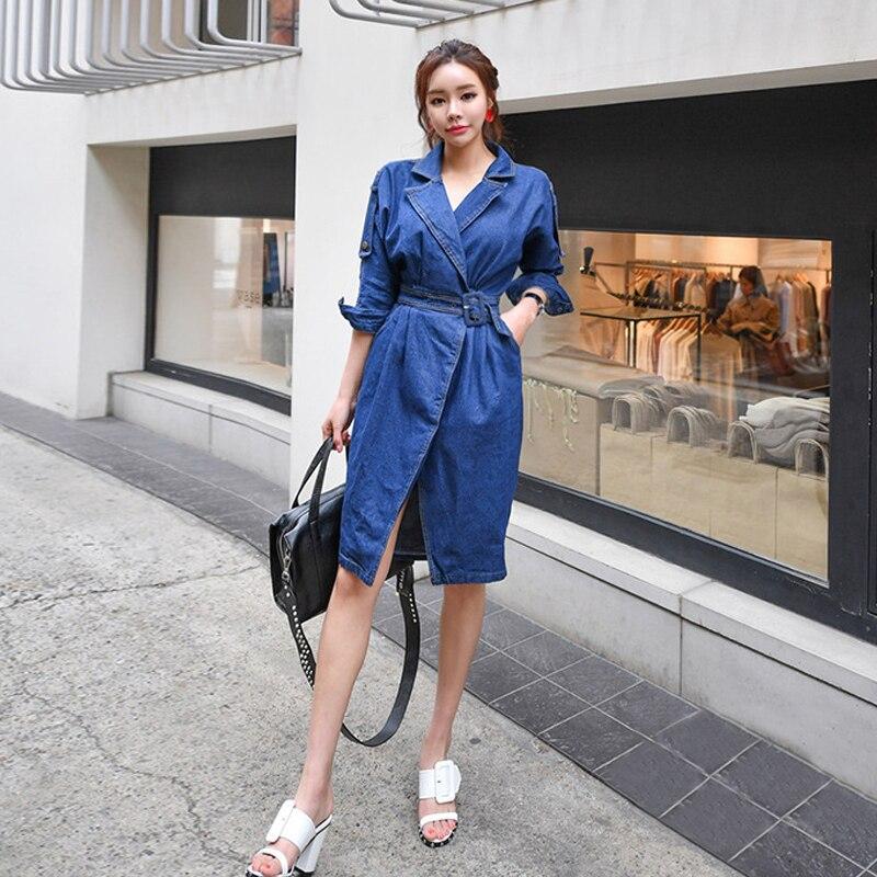 new arrival women fashion comfortable denim   trench   coat waist thin professional OL temperament soldi girls warm long   trench