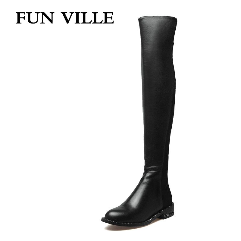 FUN VILLE Women Boots 2017 Winter New Fashion Woman Over the knee high Boots Round Toe Plus Size 34-42 sexy Ladies Shoes 2017 new women boots square toe fashion knee high boots motorcycle sexy thick high heel boots woman shoes black plus size 34 42