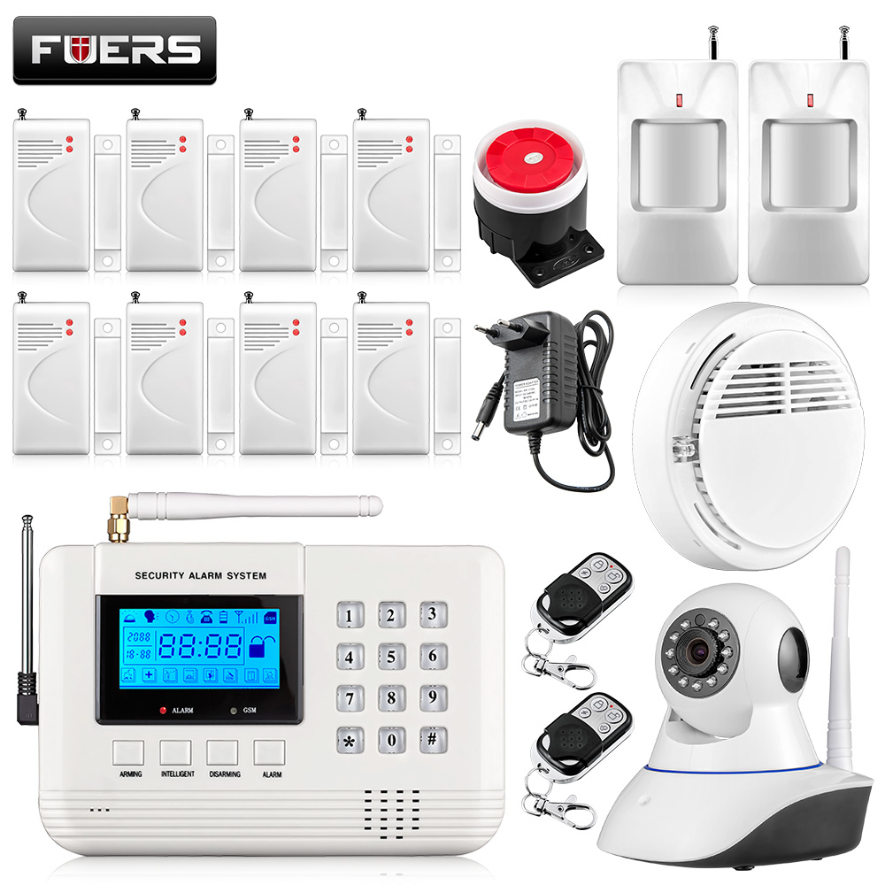Fuers Metal Remote Control Home Security GSM PSTN Wireless Alarm systems LCD Display with Wired Siren Voice Prompt Alarm System voice prompt wireless door sensor home security gsm alarm systems tft display wired siren kit sim sms alarm metal remote control